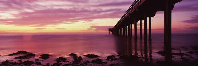 Silhouette of a pier in the Pacific Ocean at sunset, Scripps Pier, La Jolla, San Diego, California, USA