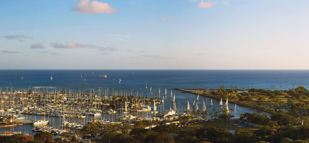 Elevated view of boats at a harbor, Honolulu, Oahu, Hawaii, USA