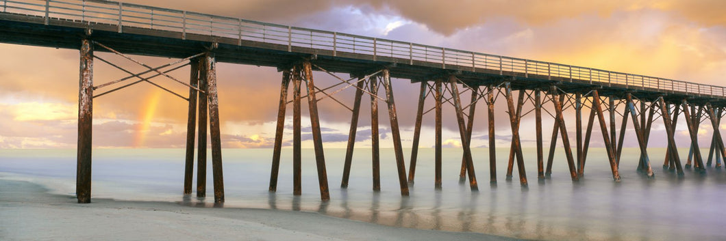 Pier on beach during sunrise, Playas De Rosarito, Baja California Sur, Mexico
