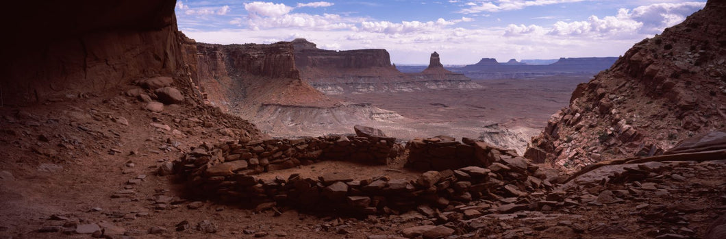 Stone circle on an arid landscape, False Kiva, Canyonlands National Park, San Juan County, Utah, USA