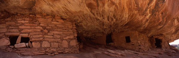 Dwelling structures on a cliff, House Of Fire, Anasazi Ruins, Mule Canyon, Utah, USA