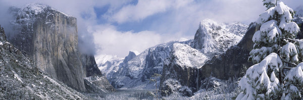Mountains and waterfall in snow, Tunnel View, El Capitan, Half Dome, Bridal Veil, Yosemite National Park, California, USA