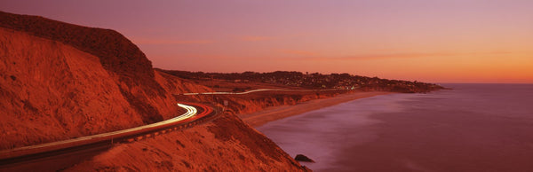 Pacific Coast Highway At Sunset, California, USA