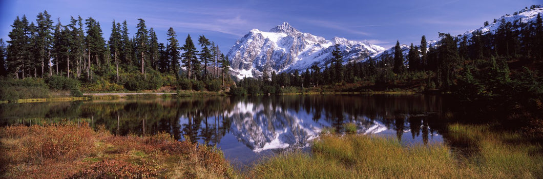 Reflection of mountains in a lake, Mt Shuksan, Picture Lake, North Cascades National Park, Washington State, USA