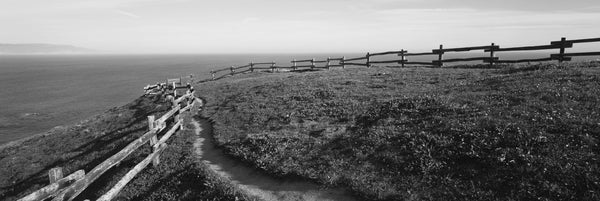 Rail fence at the coast, Point Reyes, California, USA