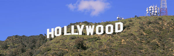 Low angle view of a Hollywood sign on a hill, City Of Los Angeles, California, USA