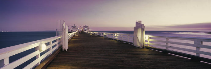 Pier over sea at sunset, Malibu Pier, Malibu, California, USA