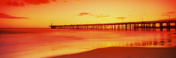 Pier in the Pacific Ocean at dusk, Ventura Pier, Ventura, California, USA