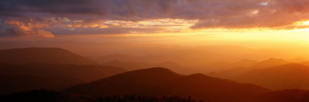 Mountains, Sunset, Blue Ridge Parkway, Great Smoky Mountains, North Carolina, USA