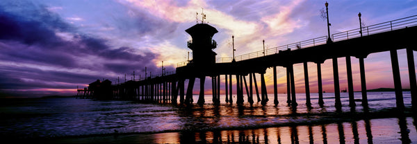 Huntington Beach Pier at sunset, Huntington Beach, California, USA