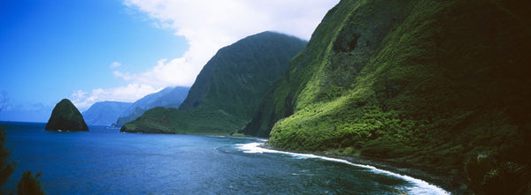 High angle view of sea cliffs at Kalawao, Pacific Ocean, Kalaupapa Peninsula, Molokai, Hawaii, USA