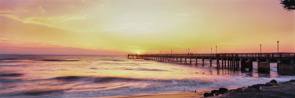 Fishing pier over the sea at dusk, Gulf of Mexico, Venice, Florida, USA