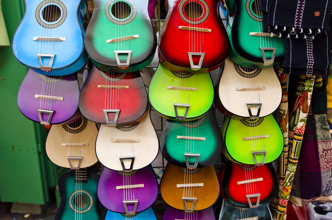 Colorful guitars at a market stall, Olvera Street, Downtown Los Angeles, Los Angeles, California, USA