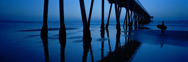Silhouette of a pier, Hermosa Beach Pier, Hermosa Beach, California, USA