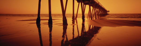 Silhouette of a pier at sunset, Hermosa Beach Pier, Hermosa Beach, California, USA