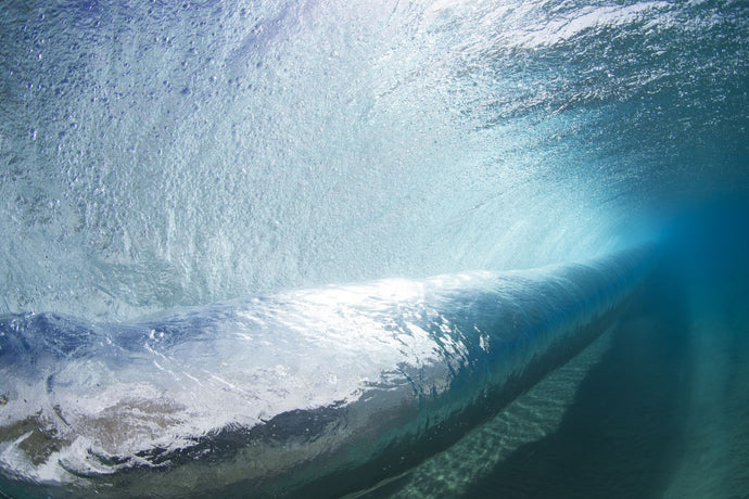 Tubing wave as seen from underwater, Hawaii, USA