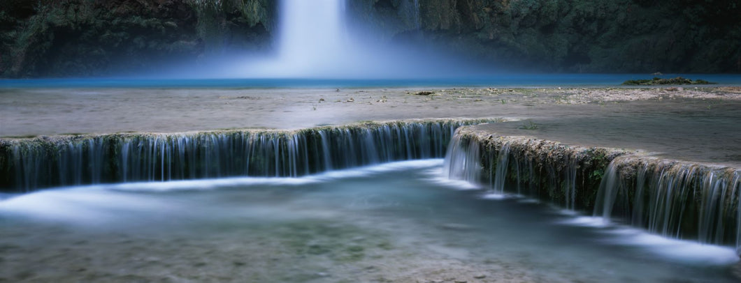 Waterfall in a forest, Mooney Falls, Havasu Canyon, Havasupai Indian Reservation, Grand Canyon National Park, Arizona, USA