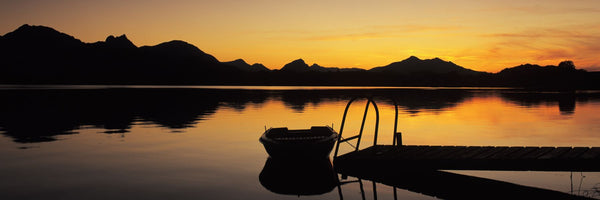 Lake Hopfensee at sunset, Ostallgau, Bavaria, Germany