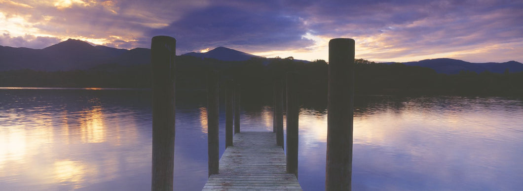 Pier on a lake, Derwentwater, Lake District, Lake District National Park, England