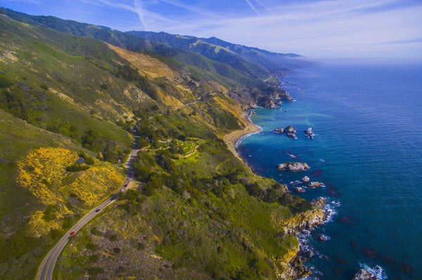 Elevated view of Big Sur coastline, California, USA