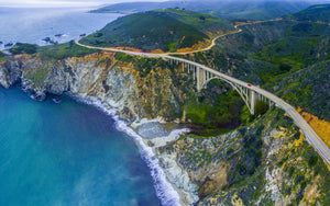 Aerial view of Bixby Creek Bridge at Pacific Coast, Big Sur, California, USA