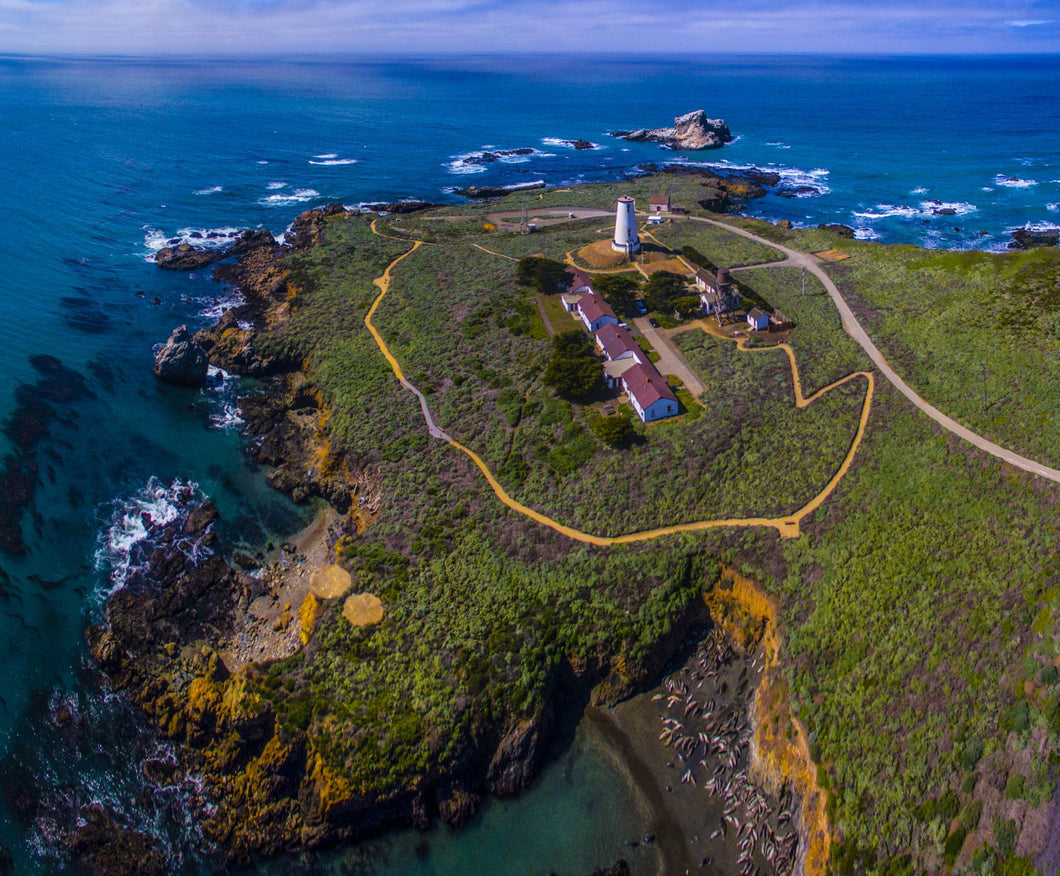 Elevated view of Piedras Blancas Lighthouse, San Simeon, California, USA