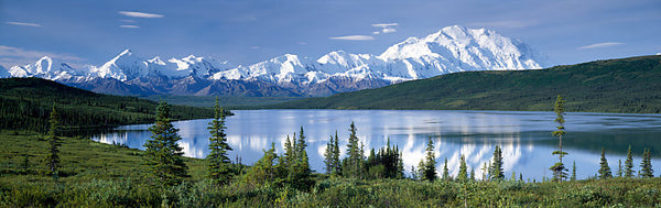 Snow covered mountain range at the lakeside, Mt McKinley, Wonder Lake, Denali National Park, Alaska, USA
