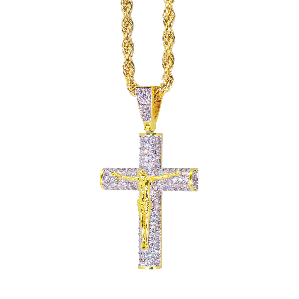 CRUCIFIX PENDANT W/ ROPE CHAIN