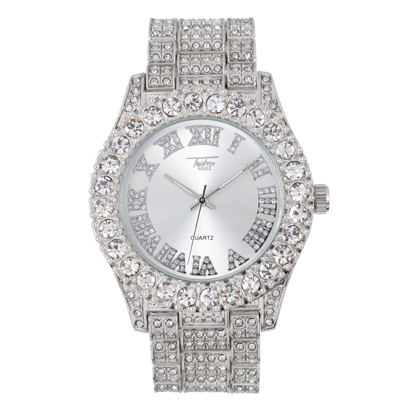 44MM SOLITAIRE BEZEL WATCH - ROMAN INDEX - SILVER