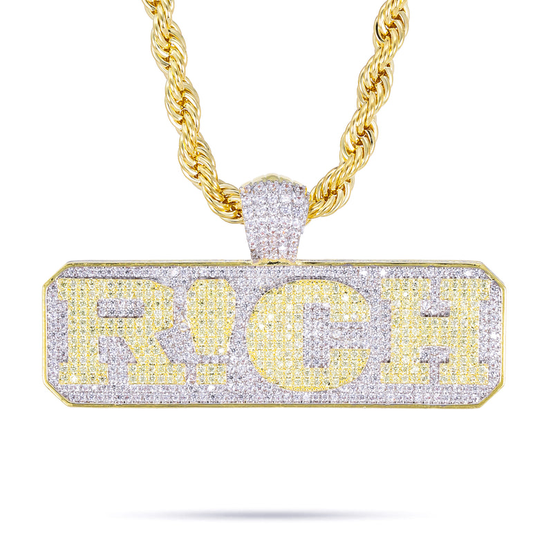 R!CH PENDANT W/ ROPE CHAIN