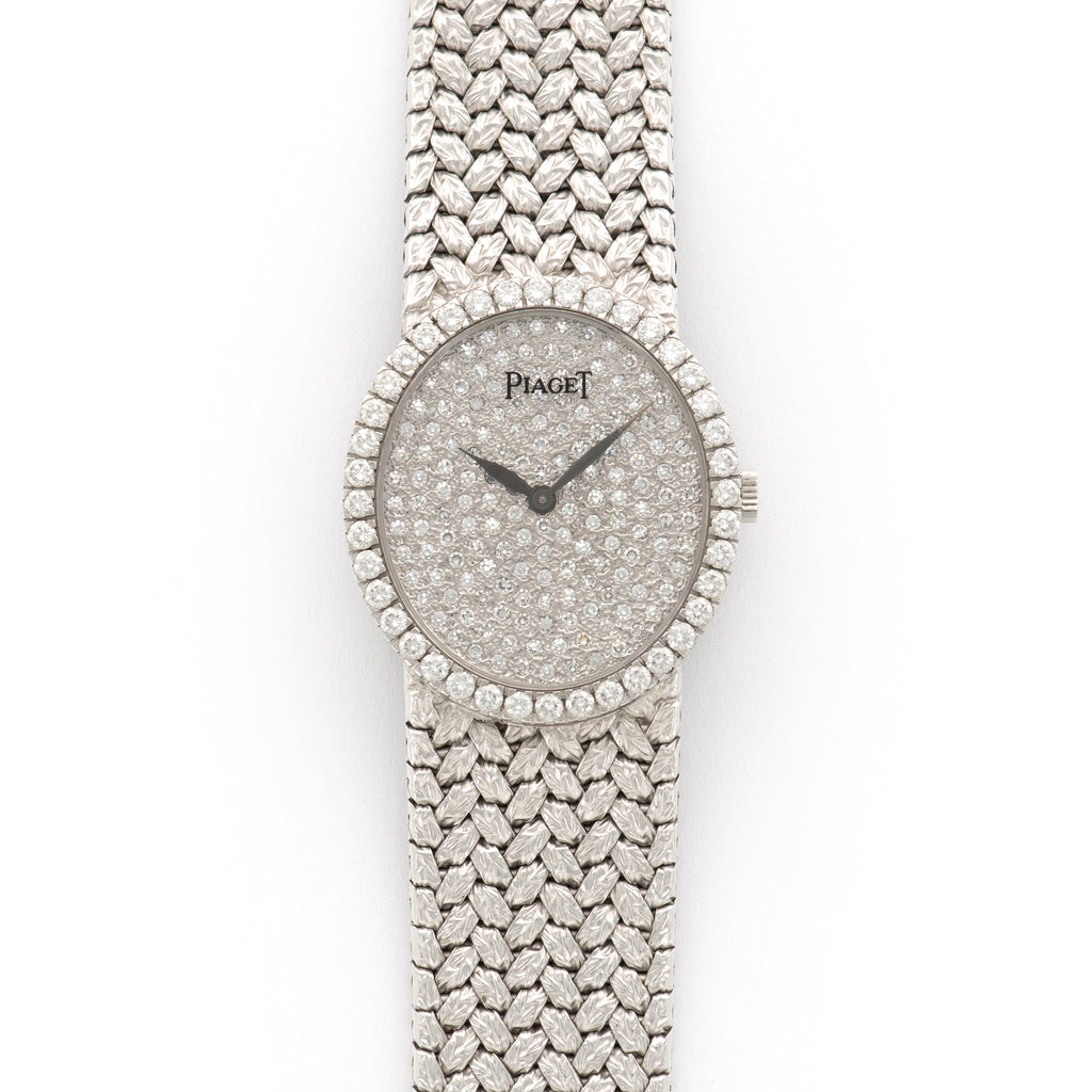 Piaget Vintage 9826 18k WG  Excellent Ladies 18k WG Pave Diamonds 25mm Manual 1970s White Gold Bracelet (155mm) Leather Travel Case