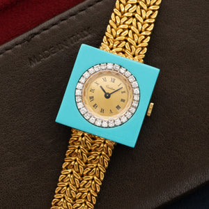 Cartier Vintage N/A 18k YG  Excellent Ladies 18k YG Champagne with Cartier Signature 25mm Manual 1970s Yellow Gold Bracelet Handmade Leather Travel Pouch