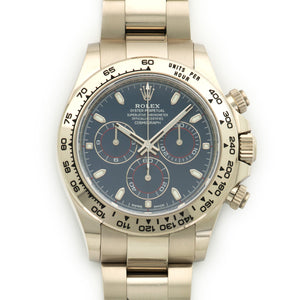 Rolex Daytona 116509 18k WG  Signs of Average Wear, Original Finish Gents 18k WG Blue 40mm Automatic 2017 White Gold Original Box and Certificate