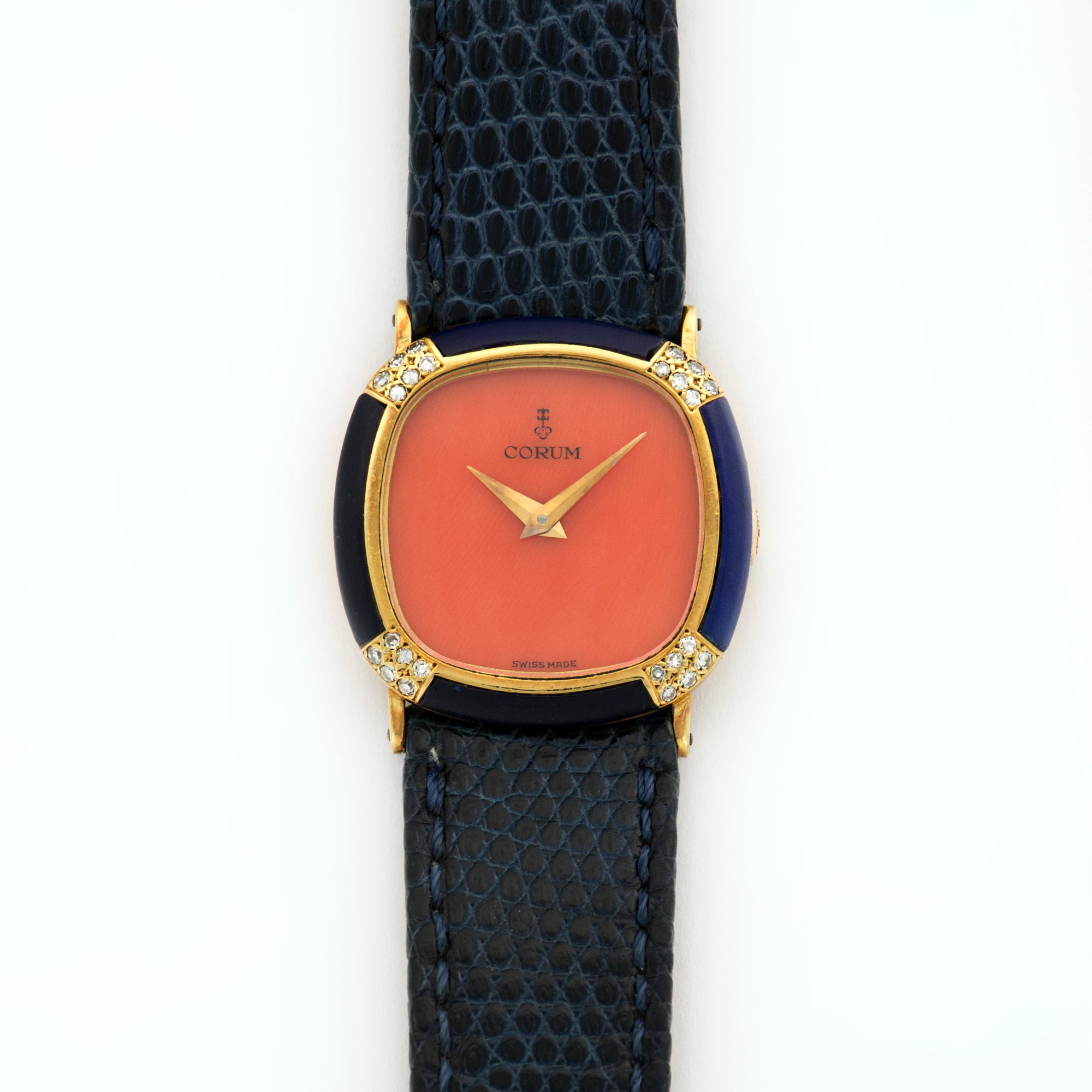 Corum Vintage N/A 18k YG  Excellent Ladies 18k YG Coral 25mm Manual 1970s Dark Blue Strap N/A