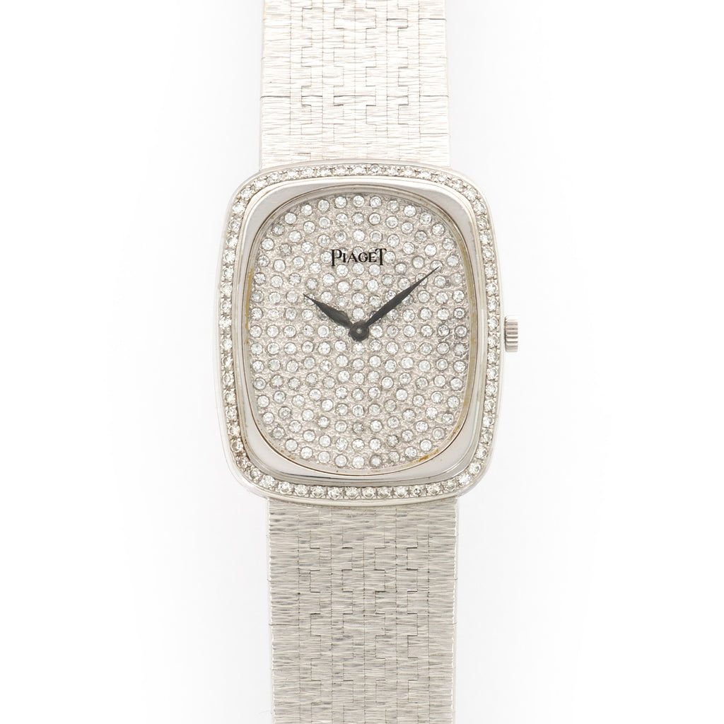 Piaget Vintage 92510 18k WG  Excellent Ladies 18k WG Pave Diamond 28mm Manual 1970s White Gold Bracelet Leather Travel Case
