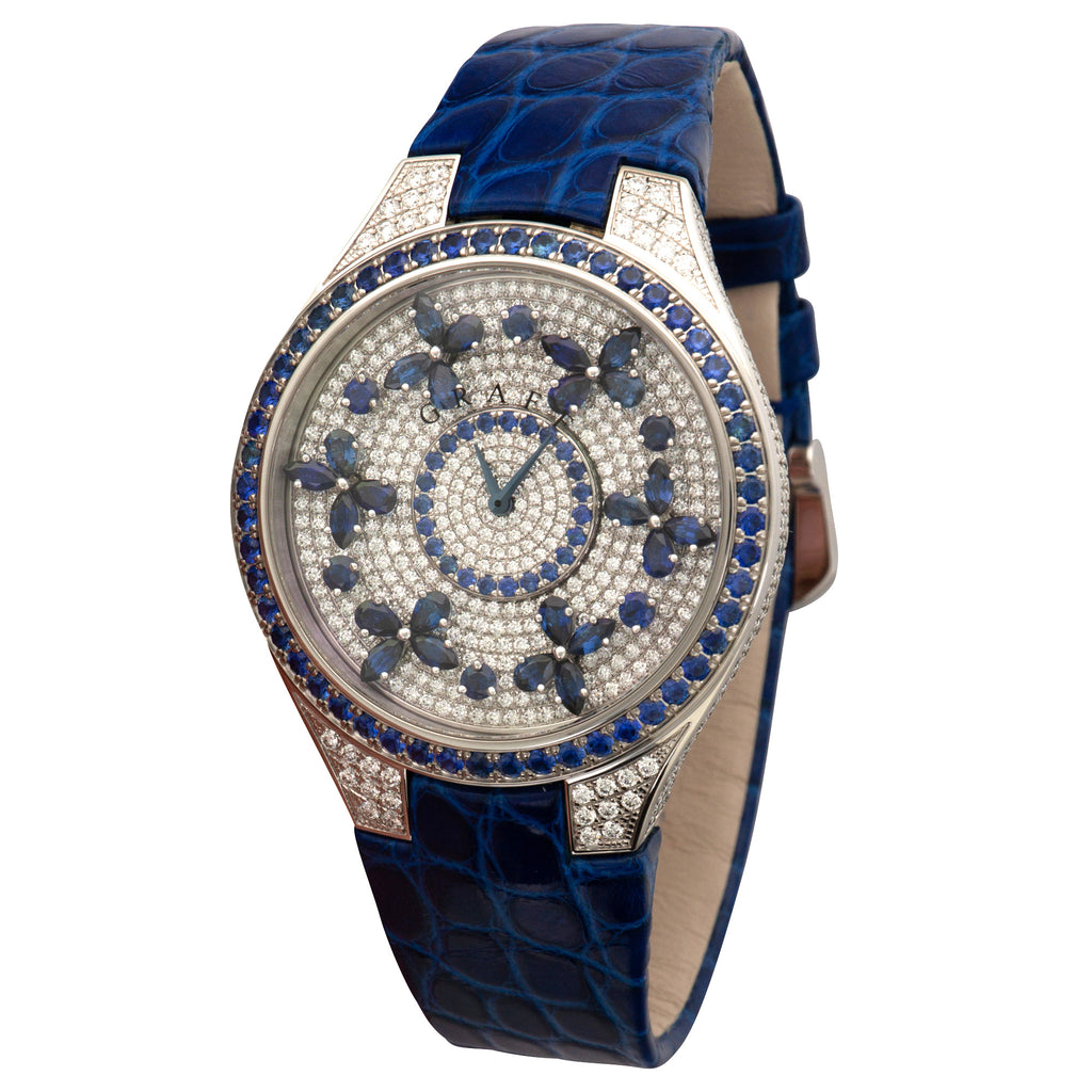 Graff Butterfly FBF38WGSD 18k WG  Unworn Ladies 18k WG Pave Diamond with Blue Sapphire 38mm Quartz Current Blue Crocodile Original Box and Certificate