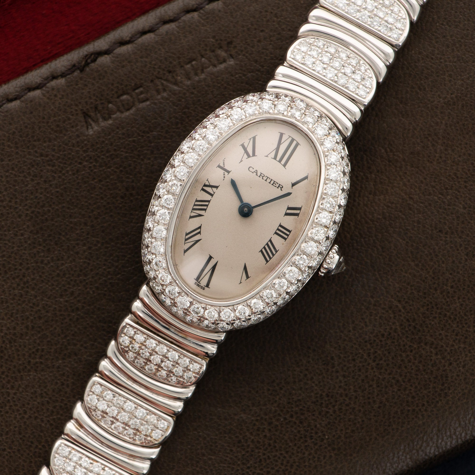 Cartier Baignoire 1955 18k WG  Excellent Ladies 18k WG White with Roman Numerals 23 X 31mm Quartz 2000s White Gold with Custom Diamonds Leather Travel Case