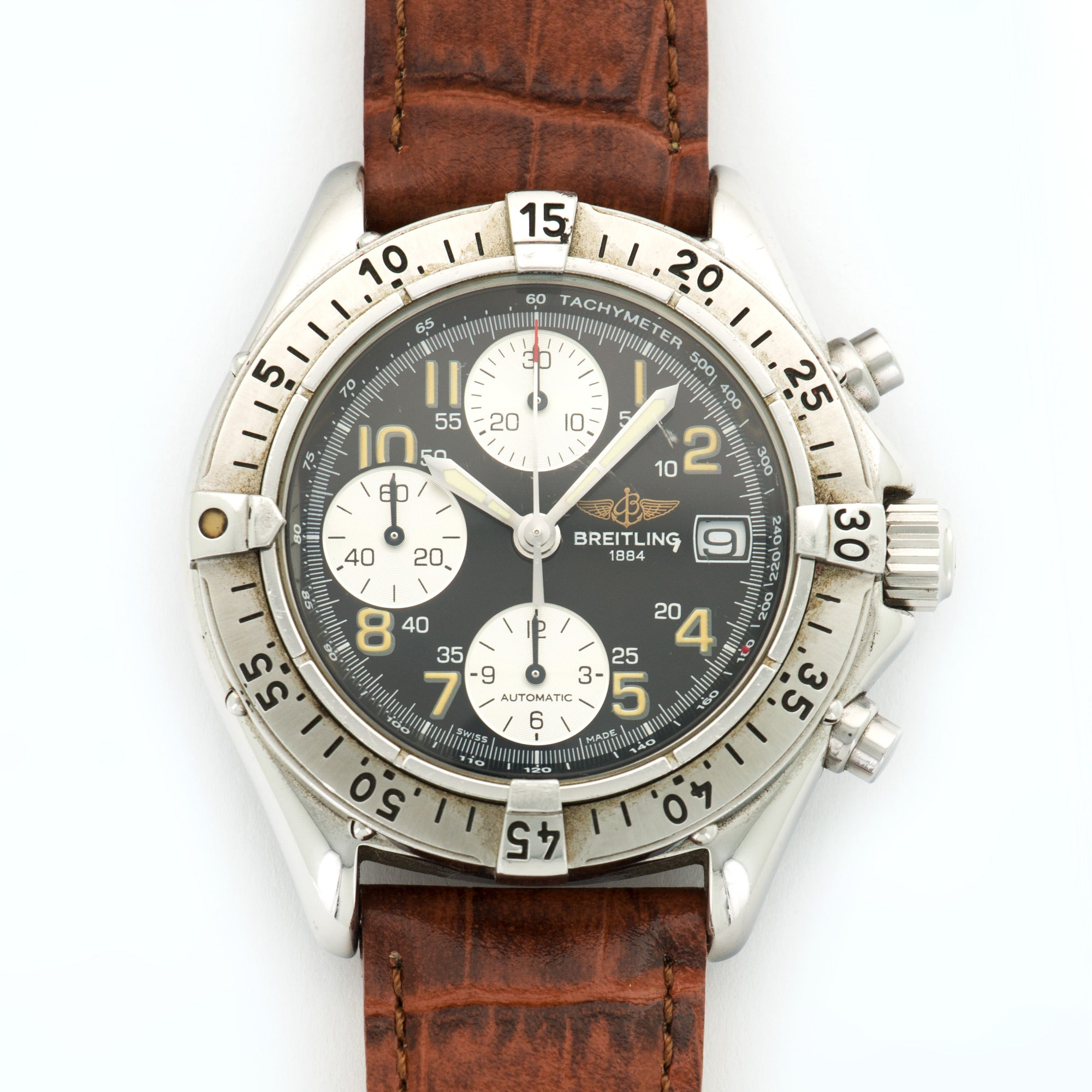 Breitling Colt A13035 Steel  Excellent Gents Steel Grey 40.5mm Automatic 1990s Brown Crocodile N/A