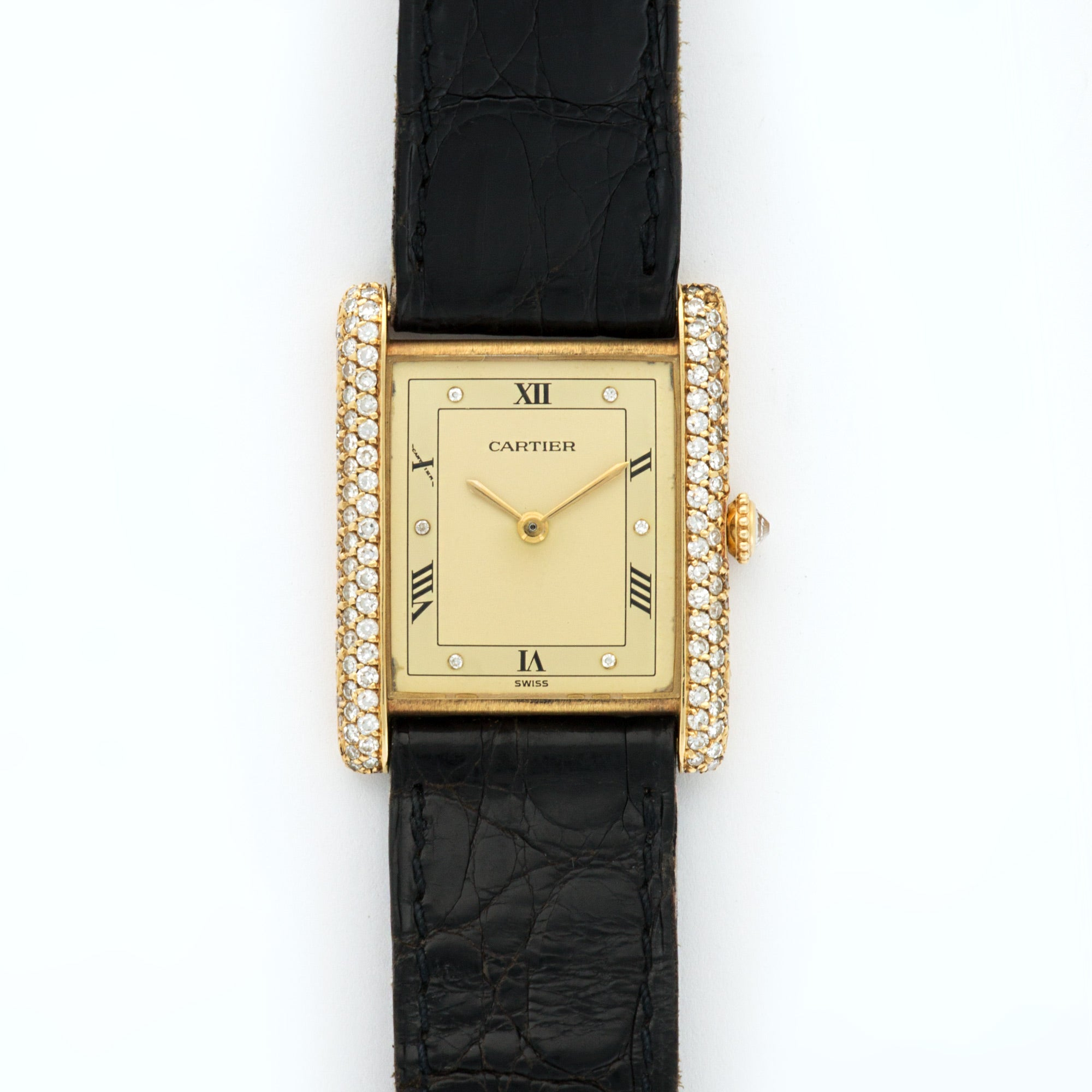 Cartier Tank N/a 18k YG  Very Good Ladies 18k YG Champagne with Diamonds 24.6 X 30.5mm Manual 1980s Black Crocodile N/A