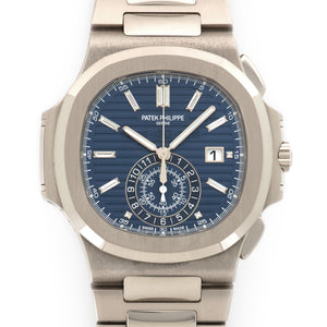 Patek Philippe Nautilus Chronograph 5976/1G-001 18k WG  Likely Never Polished, Original Finish Gents 18k WG Blue with Baguette Diamond Markers 44mm Automatic 2017 White Gold Bracelet Original Box and Certificate