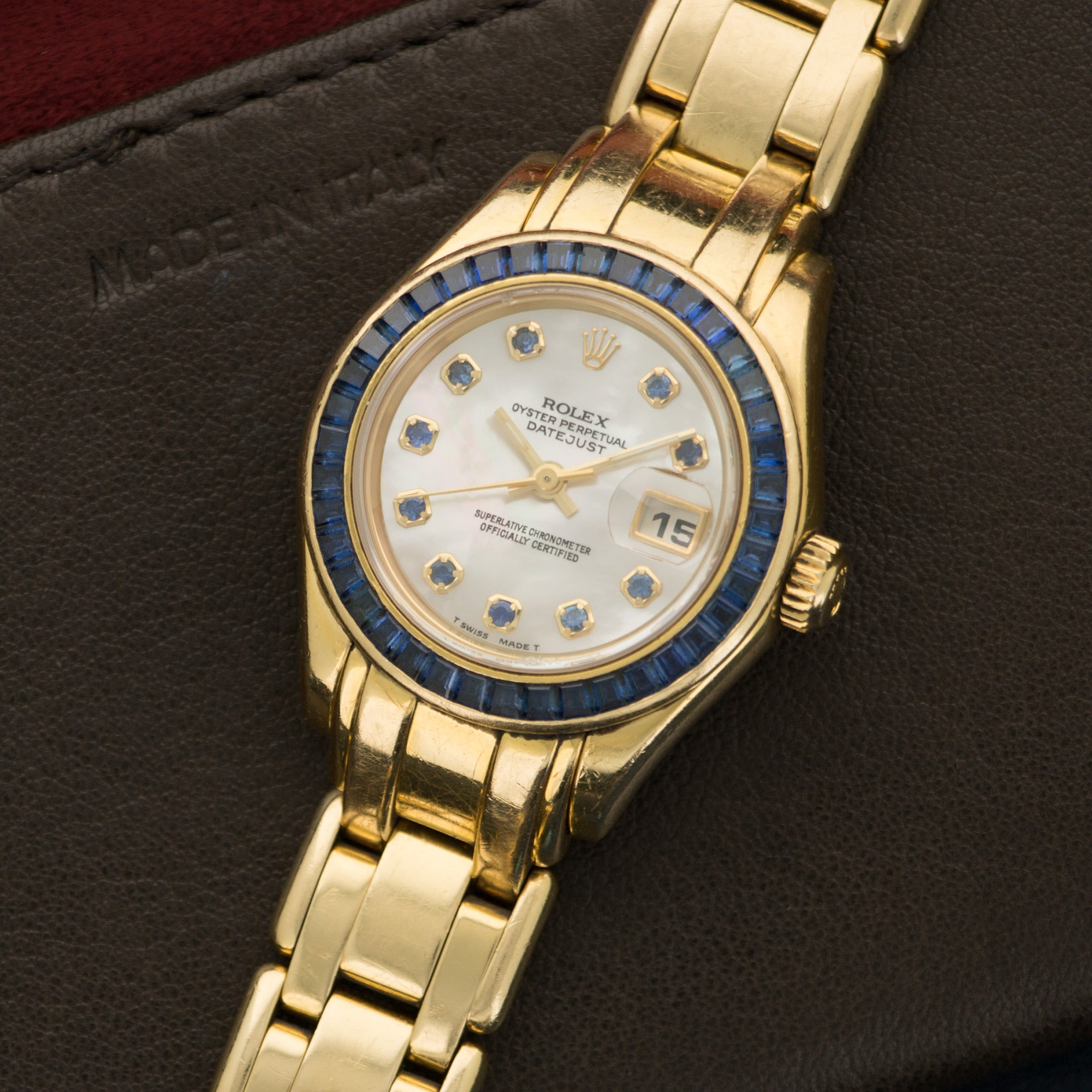 Rolex Pearlmaster 69308 18k YG  Average Wear, Excellent Condition Ladies 18k YG Mother of Pearl with Sapphire Markers 28mm Automatic 1990s Yellow Gold Original Box