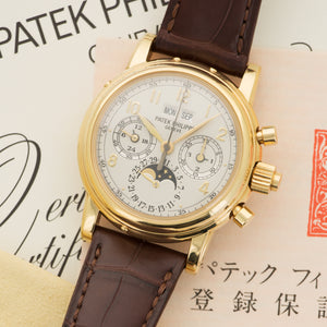 Patek Philippe Perpetual Calendar Chrono 5004J-012 18k YG  Likely Never Polished, Original Finish Gents 18k YG Original Silver with Arabic Indexes 37mm Automatic 2000 Brown Crocodile Strap Original Box and Certificate