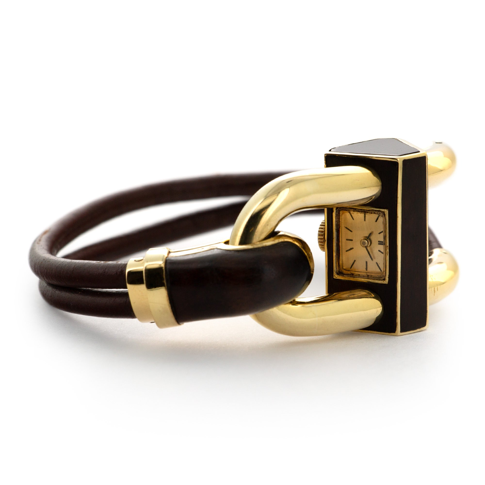 Van Cleef & Arpels Candenas N/A 18k YG  Excellent Ladies 18k YG Gold with Wood 27mm Manual 1970s Brown Leather Strap Leather Travel Case