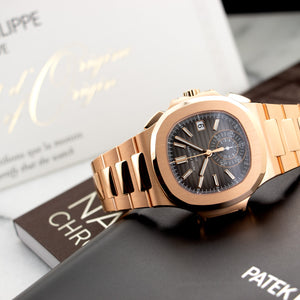Patek Philippe Nautilus Chronograph 5980/1R-001 18k RG  Unworn Gents 18k RG Grey 40mm Automatic 2018 Rose Gold Original Box and Certificate