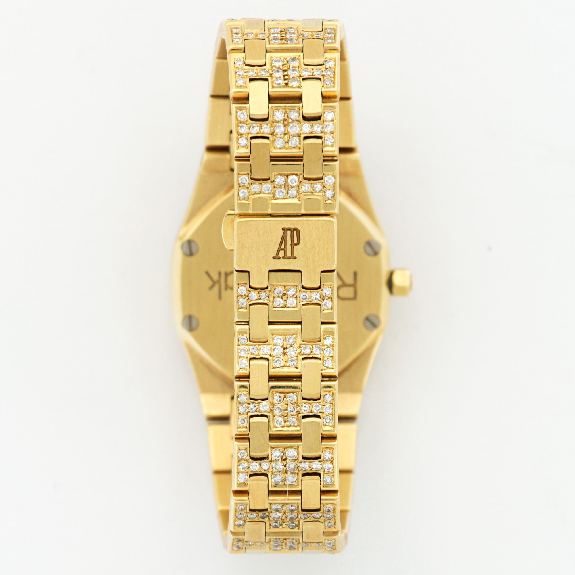 Audemars Piguet Royal Oak N/A 18k YG  Excellent Ladies 18k YG Pave Diamond with Ruby markers 24.6mm Quartz 1990s Yellow Gold Bracelet with Diamonds N/A