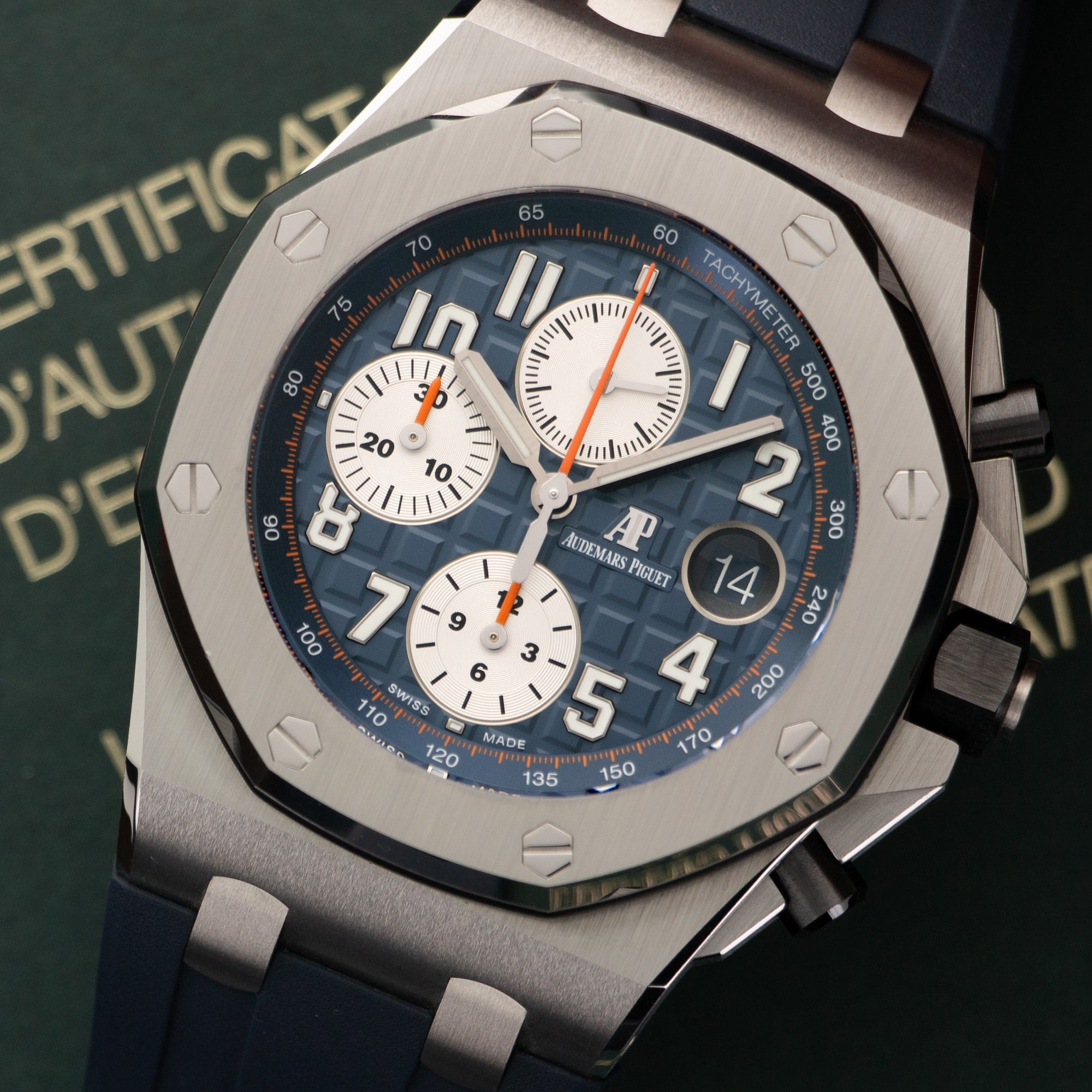 Audemars Piguet Royal Oak Offshore 26470ST.OO.A027CA.01 Steel  Like New, Worn a Few Times Gents Steel Blue and Silver 42mm Automatic 2018 Blue Rubber Original Box and Certificate