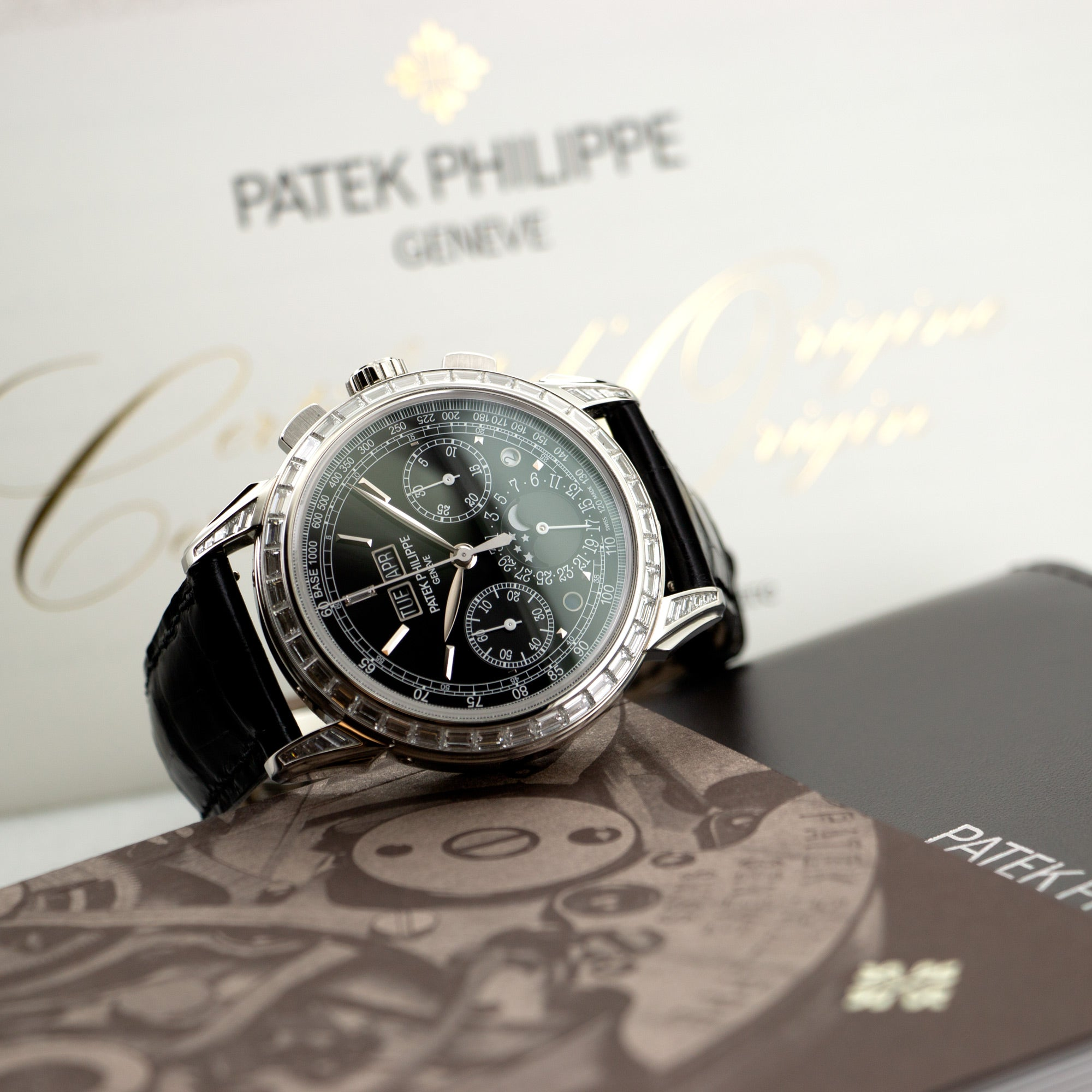 Patek Philippe Perpetual Calendar Chrono 5271 Platinum  Like New, Worn a Few Times Gents Platinum Black 40mm Manual 2017 Black Crocodile Box, Certificate, and Additional Solid Case Back