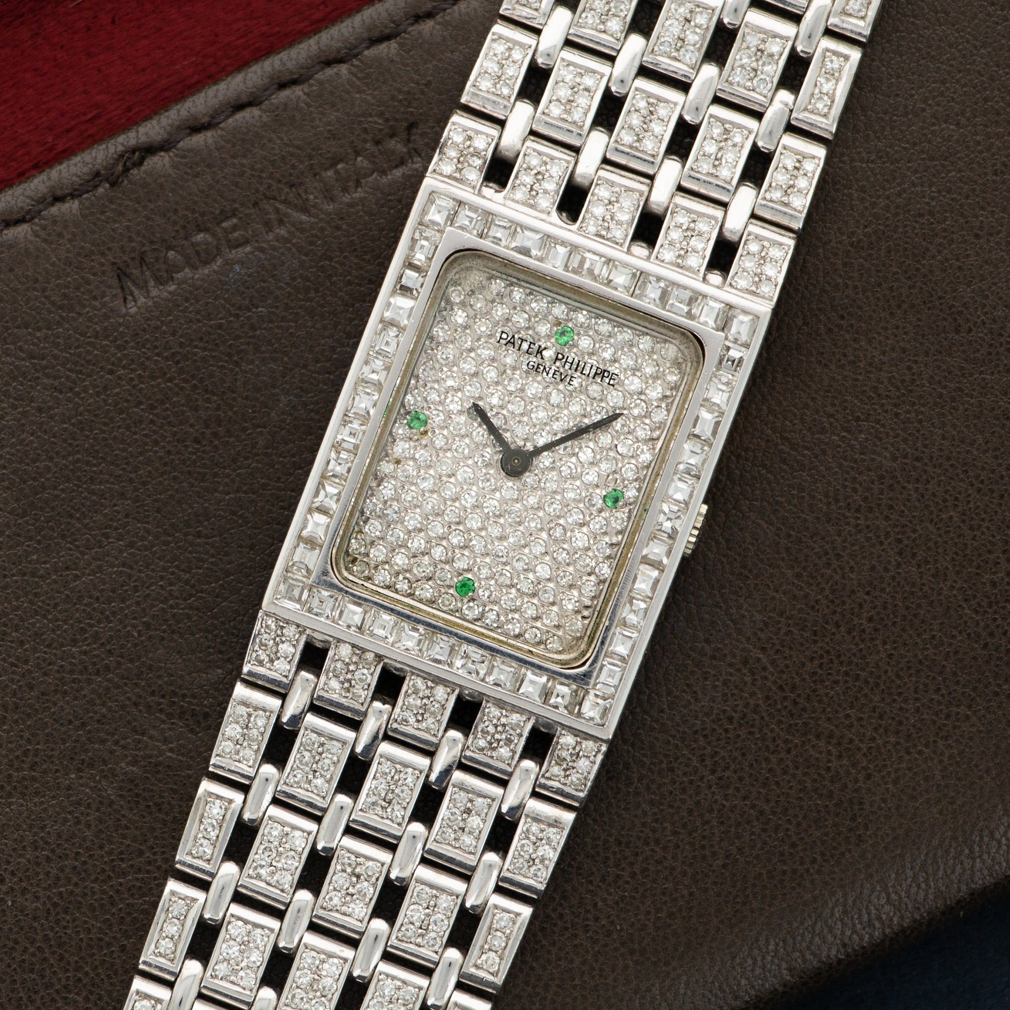 Patek Philippe Vintage N/A 18k WG  Excellent Unisex 18k WG Custom Pave Diamond with Emerald Markers 23 X 28mm Manual 1970s White Gold Bracelet with Custom Diamonds (180mm) Leather Travel Case