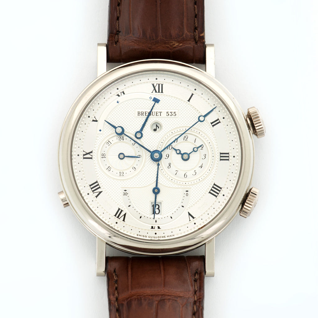 Breguet Classique 5707 18kt WG  Very Good Gents 18kt WG Silver 40.5mm Automatic Current Brown Crocodile Box