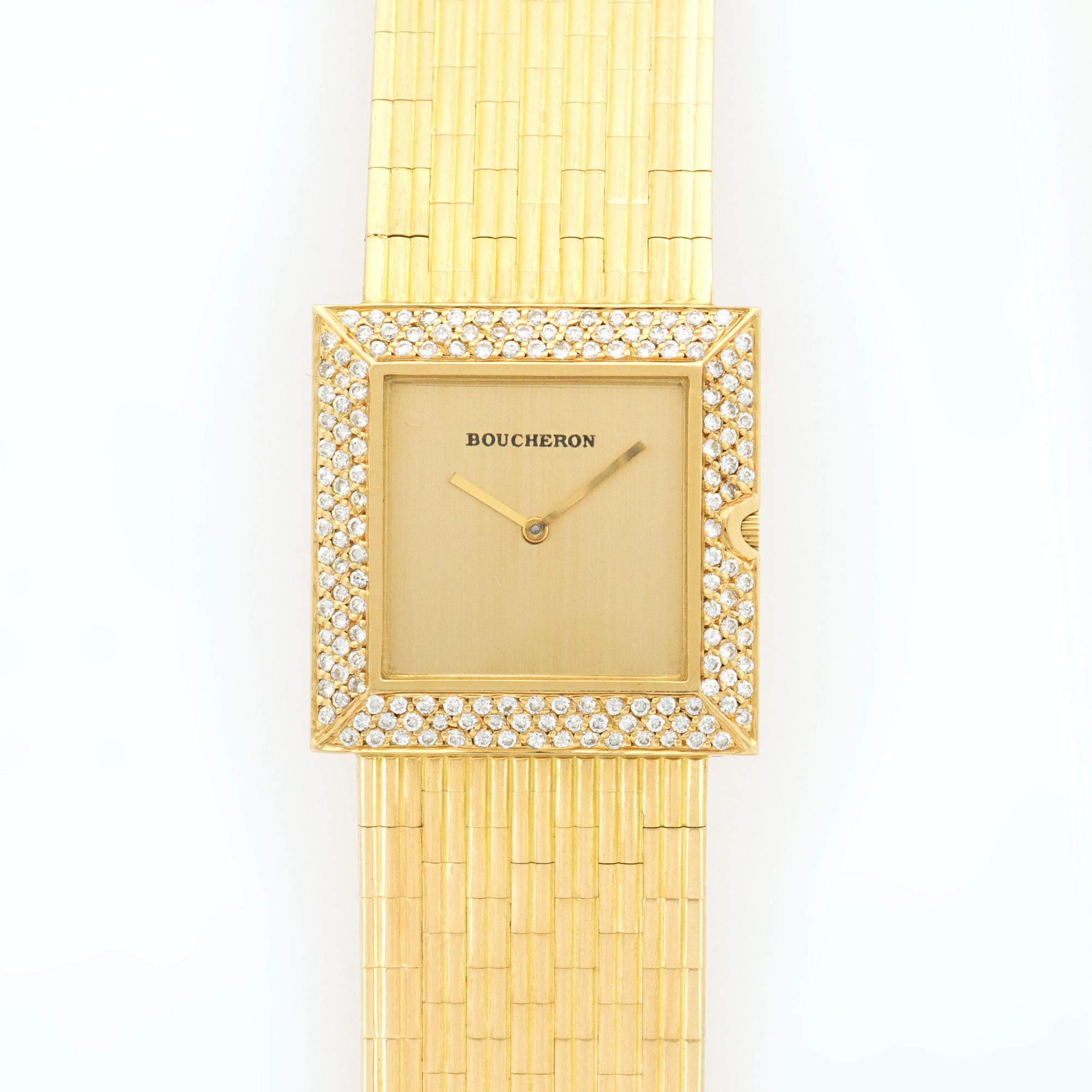 Boucheron Vintage N/A 18k YG  Mint Ladies 18k YG Champagne 26mm Quartz 1980s Yellow Gold Bracelet (7.5 inches) N/A
